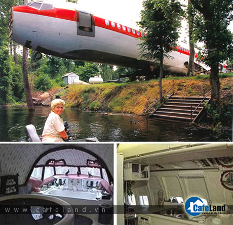 The Boeing 727 House, in Benoit (Mississippi, USA). The plane set Joanne Ussary back $2,000.00, cost $4,000.00 to move, and $24,000.00 to renovate. The stairs open with a garage door remote, and one of the bathrooms is still intact. And let's not forget the personal jacuzzi in the cockpit.
