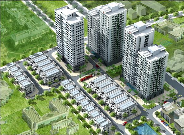 Khu nha o 183 hoangvanthai tongthe Tổng quan và quy mô khu nhà ở 183 Hoàng Văn Thái: Tổ hợp căn hộ chung cư, nhà liên kế thấp tầng
