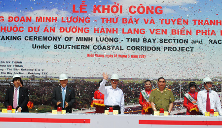 Thủ tướng Nguyễn Tấn Dũng phát lệnh khởi công tuyến đường hành lang ven biển phía Nam