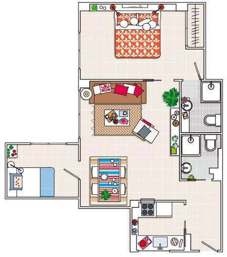 Bài trí hợp lý cho căn hộ 60m2