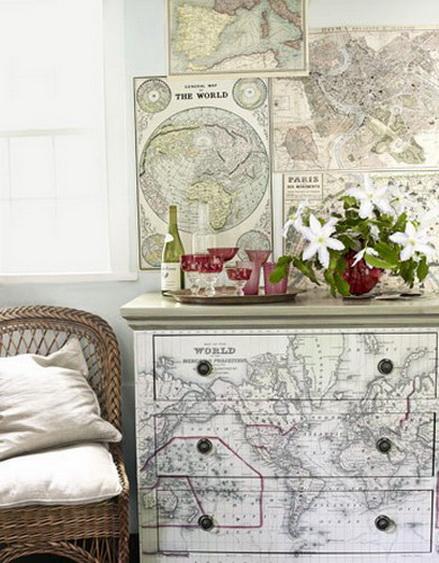 Trang trí nội thất bằng bản đồ