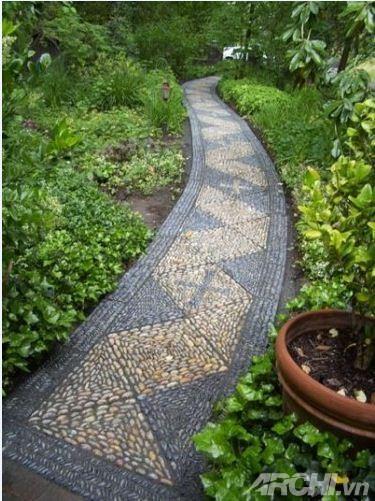 Lối đi đẹp trong vườn theo phong cách mosaic