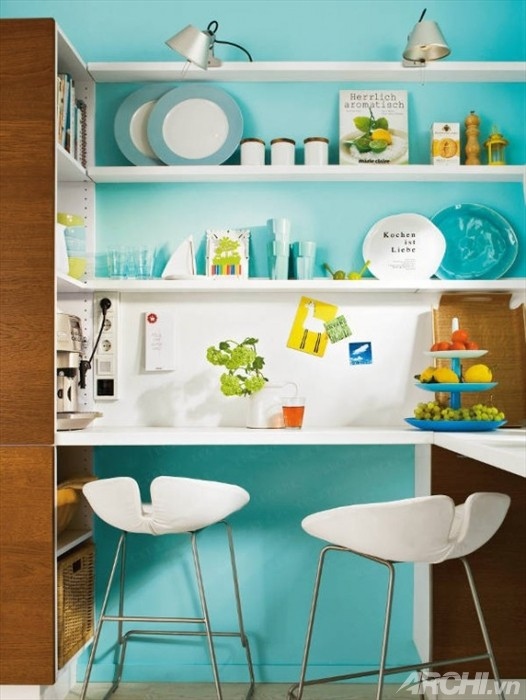 Căn bếp nhỏ màu xanh