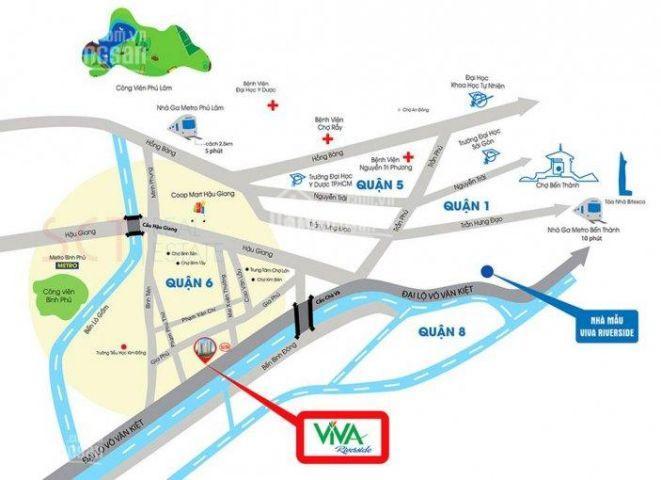 Viva Riverside Q6, 77m2 - 2PN - 2WC - Đông Bắc- 2tỷ 1 (đã VAT)+ 8 năm PQL. chính chủ