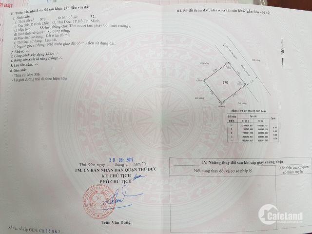 Bán gấp 93m2 đất 2 mặt tiền Bình Chiểu- Thủ Đức. LH Kiên : 0944933955