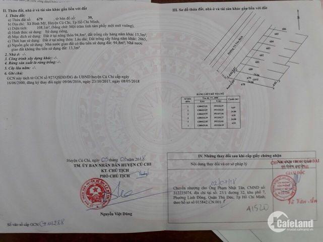 Cần Bán Gấp Lô Đất Thổ Cư 100% Sổ Hồng Riêng, Gía Chỉ 1450TR/Nền LH;0932.079.964