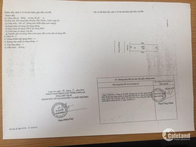 Cơ hội đầu tư đất nền Long An sát Nhà Bè, Phú Mỹ Hưng Q7, giá chỉ 1,3ty/100m2, đã có sổ riêng.