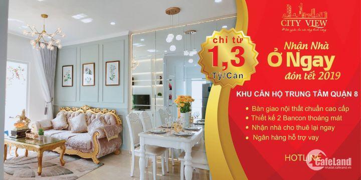 Căn hộ CityView nằm trên đại lộ Võ Văn Kiệt 1tỷ 3 có thể thiết kế 2PN.Nhận nhà trước tết.