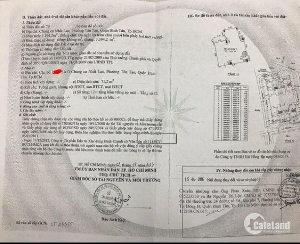 Bán gấp Căn hộ Nhất Lan, Bình Tân, 71m2, 2PN, đã có sổ, giá 1,490 tỷ