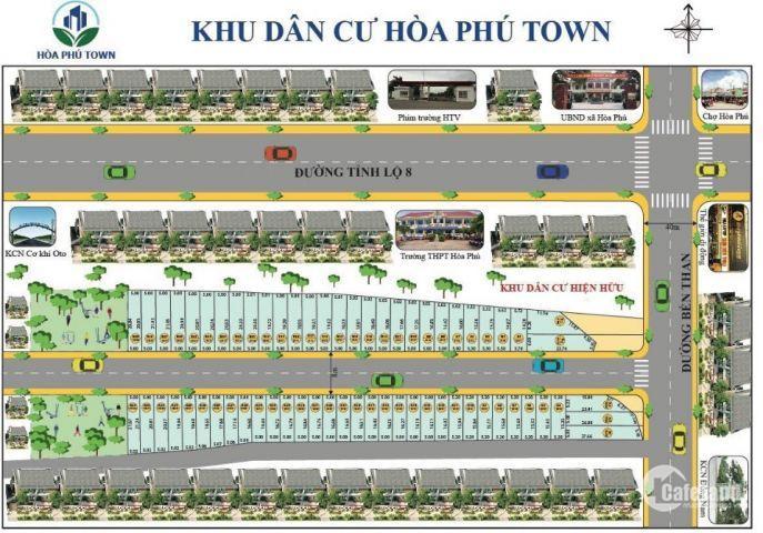Mở bán dự án HÒA PHÚ TOWN chỉ 620tr/nền , thổ cư 100%, có hỗ trợ trả góp 10 năm lh: 0908.135.966