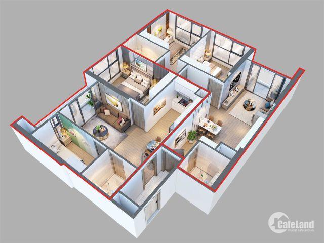 Bán căn hộ 3 phòng ngủ đẹp nhất dự án giá từ 5,13 tỷ/căn đầy đủ nội thất liền tường