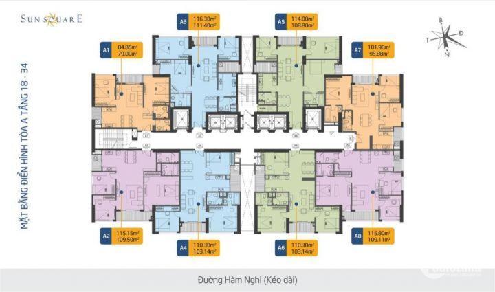 Bán căn A8 tòa Sun Square Lê Đức Thọ, 3 ngủ, căn góc, lh 0969821398