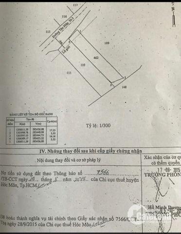 Bán đất trung tâm Hóc Môn, 57m2, 1,45 tỷ ( có % môi giới )