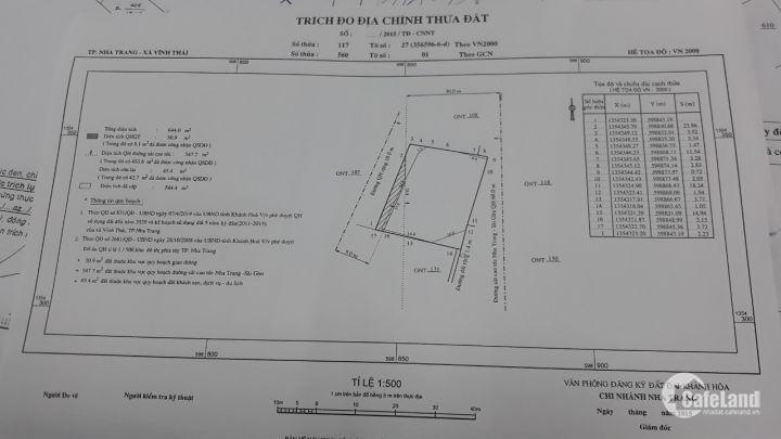 Chính chủ cần bán gấp đất mặt tiền Thành phố nha trang, liền kề cao bá quát 100met.