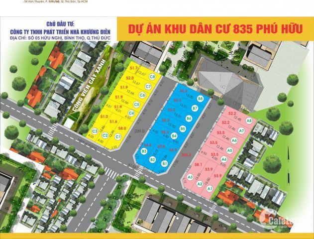 Đất ở KDC hiện hữu ngay vòng xoay Võ Chí Công, Phú Hữu Q9, đối diện Melosa KĐ,  Liền kề Q2