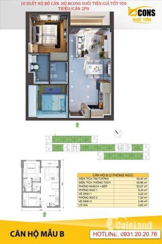 Mua căn hộ không nên bỏ qua – Căn hộ Bcons Suối Tiên 800 triệu/căn -  LH:0931.20.20.76
