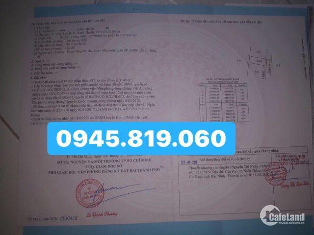 Tôi có 2 lô đất cần bán ở ngay hướng đối diện gần UBND Vĩnh Lộc B, Bình Chánh.