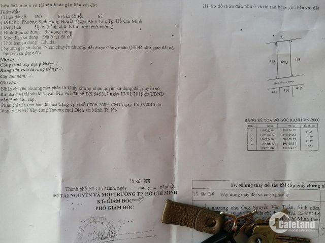 Bán đất Bình Thành KDC Vĩnh Lộc Bình Tân 4,2mx12m giá 1.95 tỷ SHR hẻm xe hơi