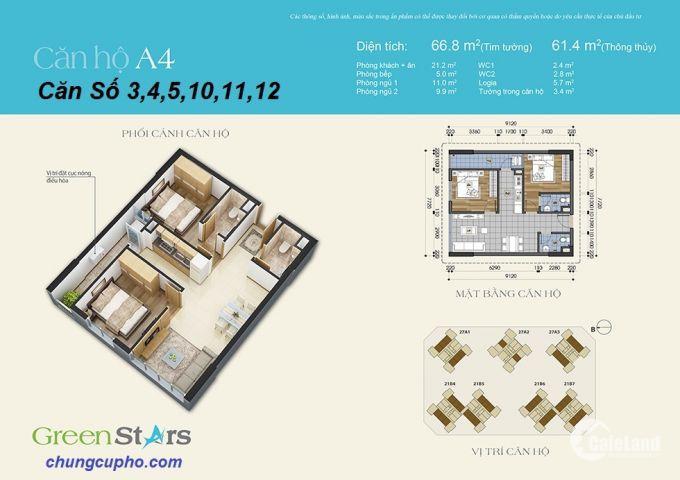 Cần Tiền Gấp Bán căn hộ Green Stars Giá 1.7ty không thể rẻ hơn