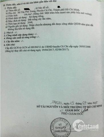Cần Tiền Làm Ăn Bán Nhanh 146,4m2 ( 6x24,4 ) Đường Hồ Văn Tắng, Tân Phú Trung, 720Tr, Thổ Cư 100%, SHR LH: 0907639419 ( A.Trọng )