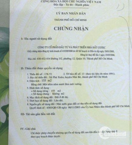 Vị trí đắc địa ! Tôi bán lô đất  khu dân cư COTEC đường Phú Xuân_Nguyễn Bình giá rẻ siêu bất ngờ chỉ 4 tỷ 650 tr/nền