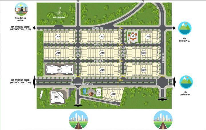 Đất nên Phú Mỹ - Bà Rịa ngay Trung tâm Hành Chính, MT Trường Chinh, thổ cư 100%,SHR, CK 6%/SP