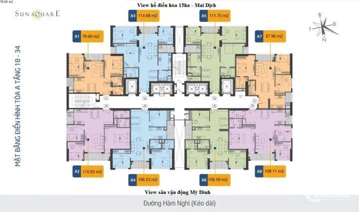 Sun Square, 27 tr/m2, thanh toán 990 Tr nhận căn hộ 3 tỷ, tặng Full nội thất cao cấp 250Tr