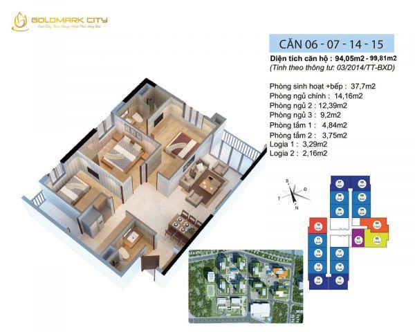 Cần bán nhanh căn góc 3 ngủ, 94,05m2 , nội thất đẹp, giá 2.880tỷ.