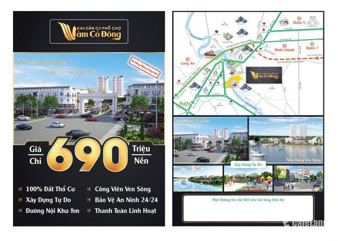 Đất nền khu dân cư phố chợ Vàm Cỏ Đông, huyện Bến Lức, Long An, giá bán 690 triệu/nền