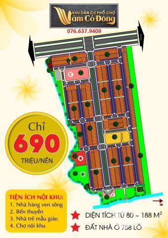 Chỉ 690 triệu/nền dự án phố chợ vàm cỏ đông bến lức long an LH:076.637.9409