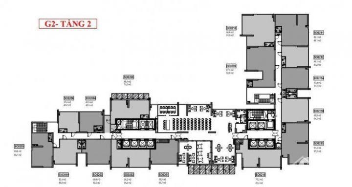 Cho thuê shop chân đế tầng 2 tại Green Bay, dt 70m2. Giá 20$/m2/tháng.