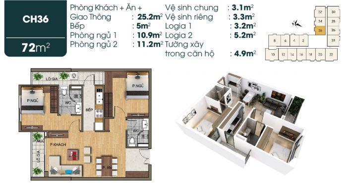 Cơ hội cuối sở hữu căn hộ 2 ngủ 71-:-72 m2 chỉ với 2 tỷ được chiết khấu 1,5% giá trị căn hộ bàn giao full nội thất liền tường.