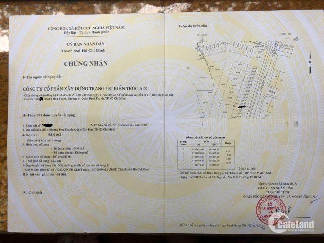 Cần bán nhà MTKD   Văn Cao P,Phú Thạnh Q,Tân Phú  dt 4x17  1 trệt 2 lầu st