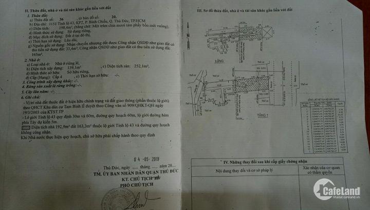Mặt tiền Tỉnh lộ 43, khu phố 2, P. Bình Chiểu, Q. Thủ Đức