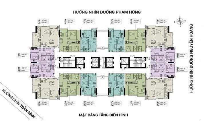 Bán Căn Hộ 2 Phòng Ngủ 18A Phạm Hùng Ban Công Đông Nam Giá Bán 1.19 Tỷ