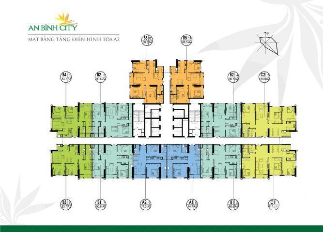 An Bình City-Bán căn hộ góc, 3 phòng ngủ, DT 82m2. Giá chỉ 2,66 tỷ