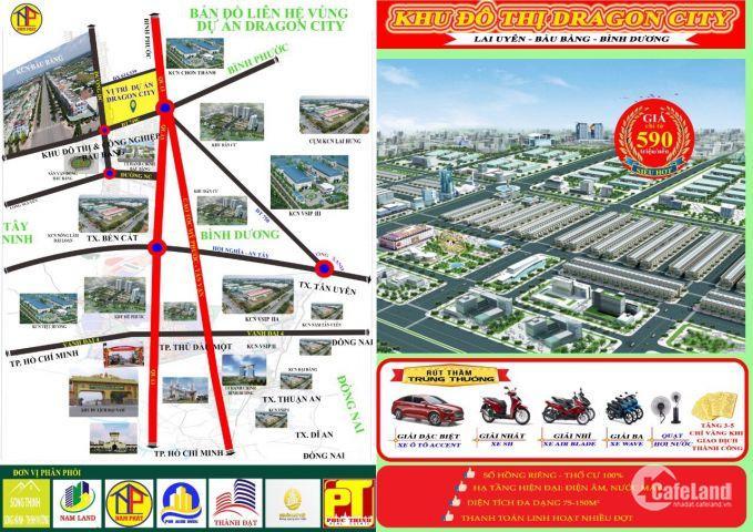 Đất Trung Tâm Bàu Bàng,nằm trong KCN,599tr/nền mt đường ĐT749C