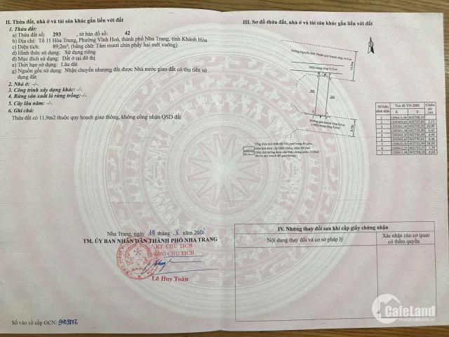 Cần bán gấp lô đất 80m2 hẻm oto Nguyễn chích, sổ đỏ, thổ cư 100%