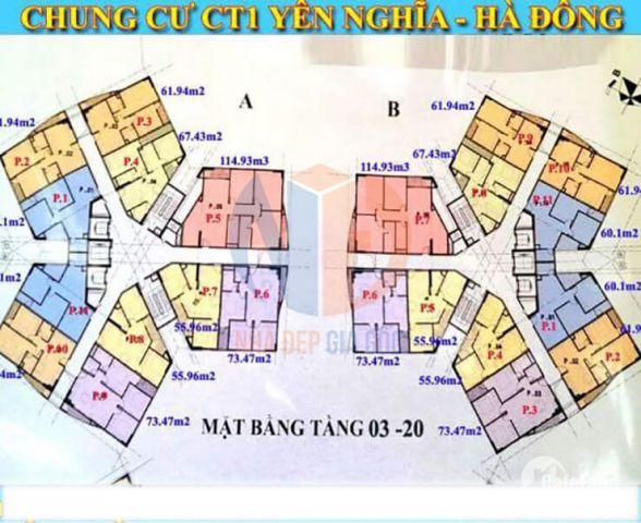 Chính chủ nhờ bán CH CT1 Yên Nghĩa, DT 62m2, 2PN, giá 11tr/m2.