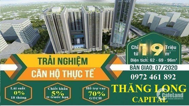 Chỉ 1.3tỷ sở hữu ngay căn 2PN 69.9m2 Thăng Long Capital cách Trần Duy Hưng 10p LS 0%. LH 0972461892