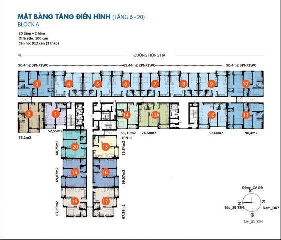 căn tốt cần bán gấp botanica premier 74m2, 2 phòng ngủ giá 3.4 tỷ bán hoàn thiện cơ bản