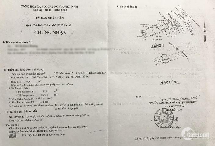 Nhà bán nguyên căn, 156m2, mặt tiền Thủ Đức