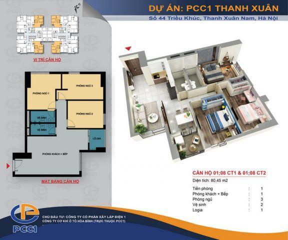 Bán căn hộ chung cư tại Khu nhà ở 44 Triều Khúc - Quận Thanh Xuân - Hà Nội  3 ngủ  80 m2 chỉ 2,5 tỷ đồng