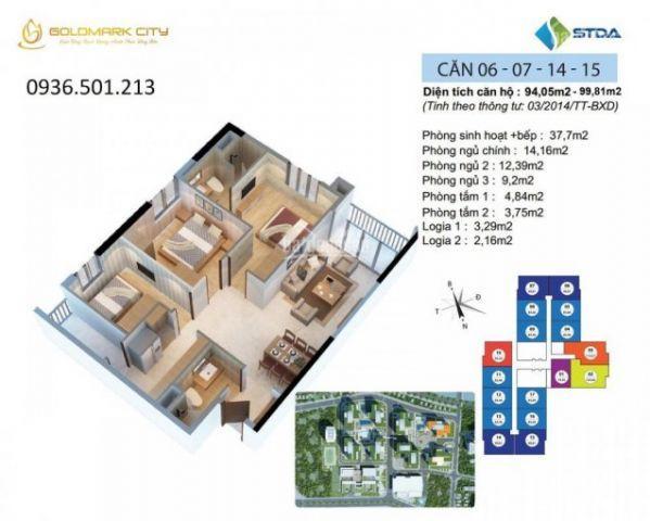 Căn góc 3 PN view đường Hồ Tùng Mậu, full nội thất, tòa S4 Goldmark City