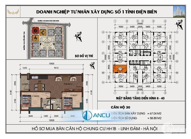 Bán gấp căn hộ 67m2  HH1-Linh Đàm view đẹp, tầng đẹp, giá cũng đẹp
