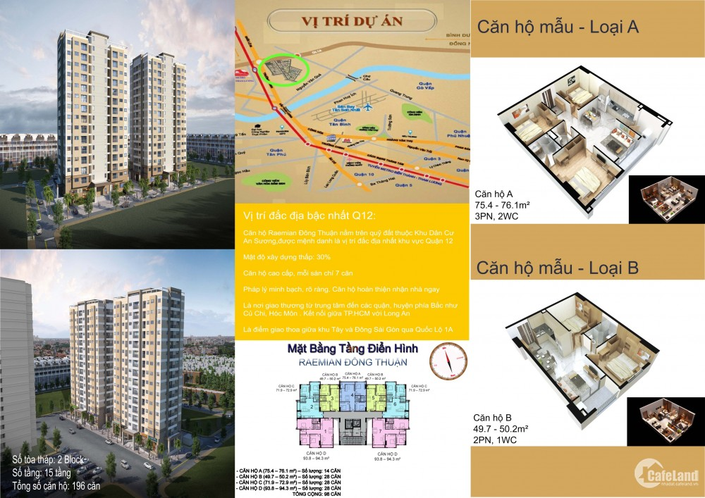 Bán CH 76m2 Raemian Đông Thuận Q12, giá chỉ 2,65 tỷ