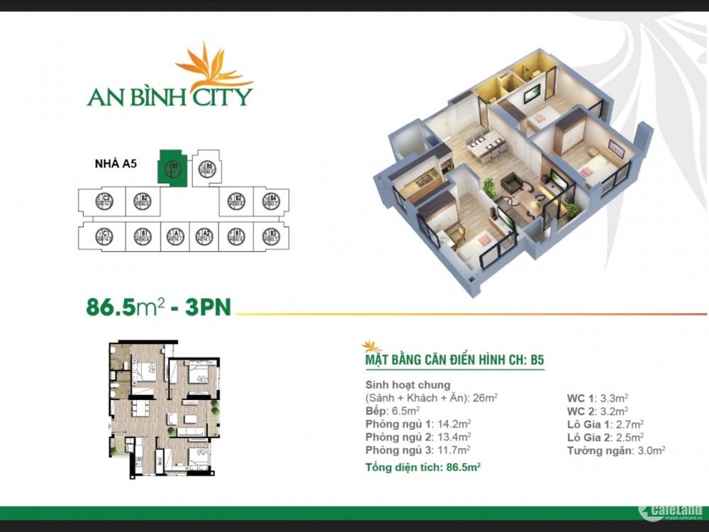 [An Bình City] Chính chủ bán căn 3PN tòa A2, tầng trung,view hồ điều hòa, bể bơi