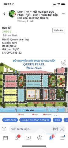 Cần sang nhượng lại 2 lô đất tại Queen Pearl Lagi Bình Thuận, giá tốt