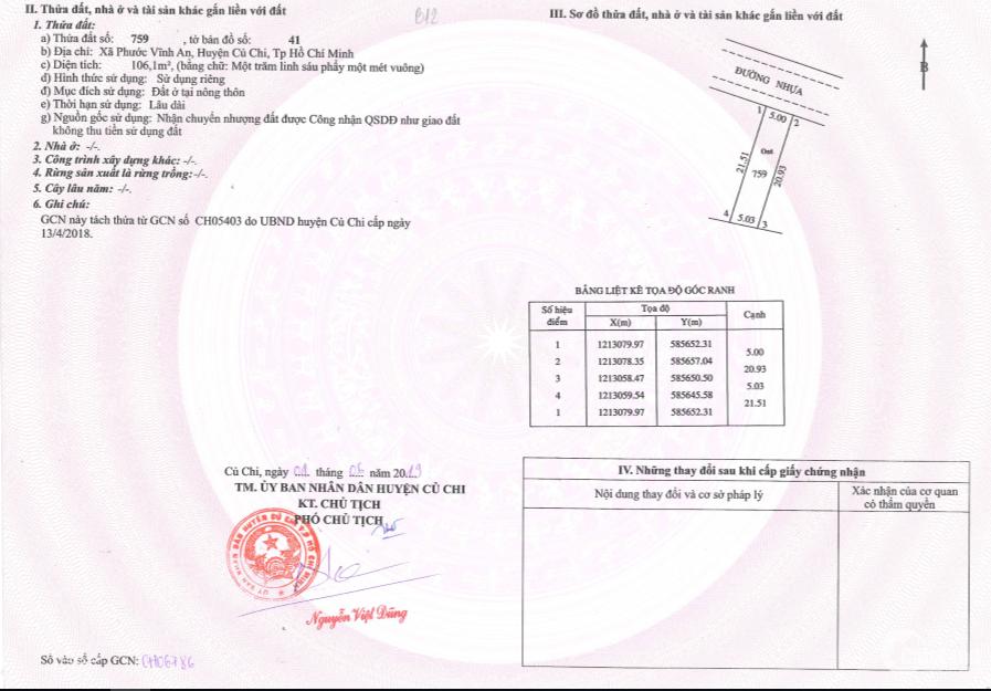 Đất Mặt tiền Nguyễn Thị Lắng , Gần BV Xuyên Á, DT 100M2 , LH 0982032645