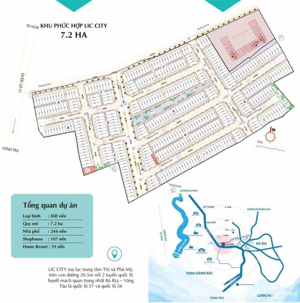 Lic City Phú Mỹ, đất nền đô thị phố cảng, Singapore trong lòng Bà Rịa, chỉ 800tr/nền